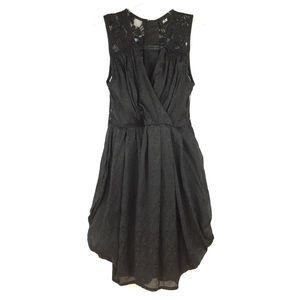 H&M Black Textured & Lace Sleeveless Pouf Dress 4
